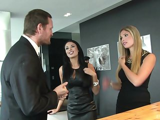 Steaming threesome with MILF babes Anissa Kate and Eva Parcker