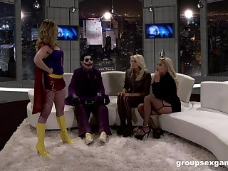 MILF sluts Bridgette B with an increment of her public limited company ride a masked guy's dick