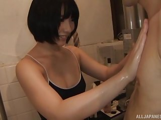 Unforeseen haired Japanese babe Abeno Miku blows cock on touching the office