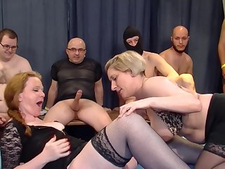 Petra W. coupled with Teresa Lynn swallow cum at an extreme orgy combo unite