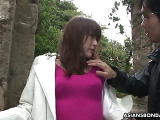 Japanese chick Sayo Hayakawa is tied up with an increment of pity fucked by two kinky dudes