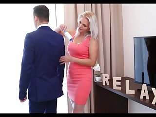 Lustful stepmom in lacklustre stockings Kathy Anderson seduces her stepson