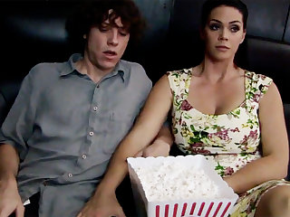 Horny milf touch regressive stepson's dick in cinema