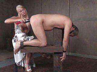 kinky mature mistress London River fists her male slave's asshole