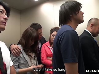 Illogical Japanese elevator group pic featuring yummy naughty babe Aoi Miyama
