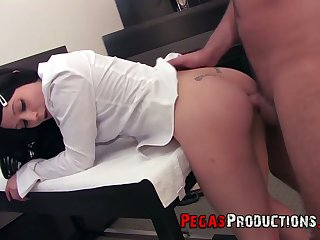 Depraved dark haired gal in snappish skirt Lily Fatale has nothing against hard anal