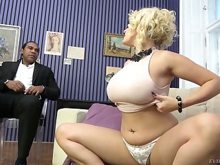 Dreadfully wild busty white cowgirl Angel Wicky gets pussy stretched by BBC