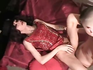 Russian crossdresser has a private party
