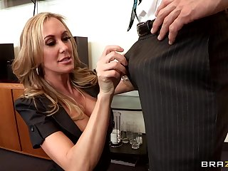 Bored office lady gets her satisfaction in the office