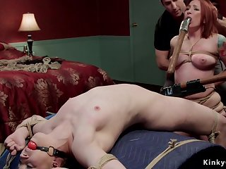 A handful of bitches endure whippings plus bondage