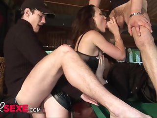 Skanky brunettes getting fucked by 2 horny guys on be passed on unify table