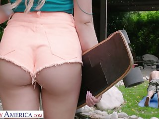 Cute blonde in shorts Khloe Kapri swallows a fat dig up and gets will not hear of pussy fucked