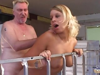 Fortuitous old grub fucks two slutty girls