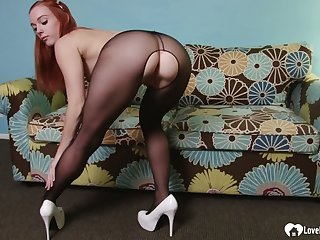 Horny redhead devours his rock-solid cock not far from POV