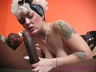 Black dude pleases wet Candy Monroe's pussy with his strong penis