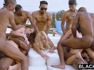 Teanna Trump, Adriana Chechik and Vicki Pursue are orgying during a vacation, regarding dark-hued men