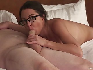 Sexy drab with glasses on, soft blowjob ahead of dealings