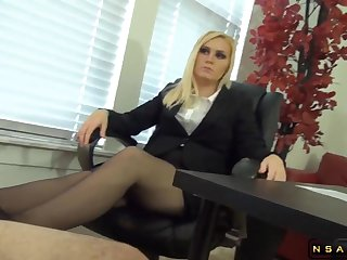 Pantyhosed blonde milf factory the brush fingertips coupled with feet on a cock
