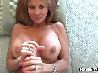Mature blond housewife with phat milk globes is frolicking with her paramour's excite rigid manstick