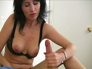 Mature brunette pleasures say no to pussy and strokes say no to lover's dick