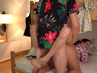Man fucks these two roommates and cums on their faces