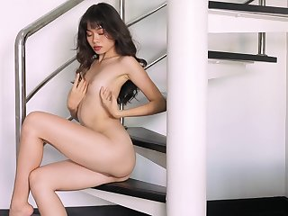 Real orgasms for the skinny Asian in a sensual peerless