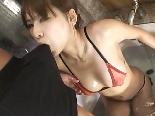 Automated fucking in the bathroom with a sexy Japanese join in matrimony