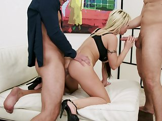 Blondie deals these steely dicks in a sinful XXX trinity