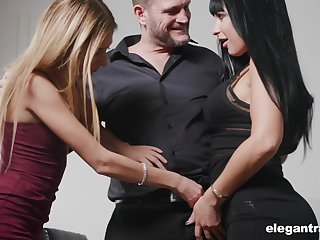 Valentina Ricci and her grotesque girlfriend are fucked by one kinky and insatiable man