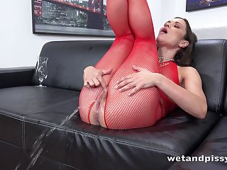 Horny lady in red fishnet stuff Alyssa Reece goes incongruous about masturbation
