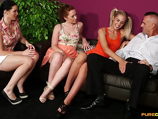Stunning chicks share weasel words in massive CFNM tryout on cam