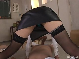 Japanese enchase spreads her legs to tease coupled with gets fucked