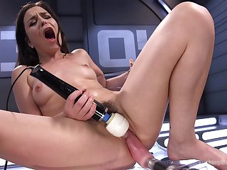 Juliette March uses a fuck machine and vibrator on her stimulated pussy