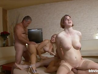 Group sex orchestra in someone's skin flat with cock hungry amateur babes