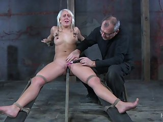 Obedient blonde whore less natural tits Sophie Ryan deserves bondage coupled with masturbation