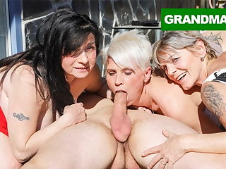 Three Hungry Grannies Finish Up a Young Load of shit