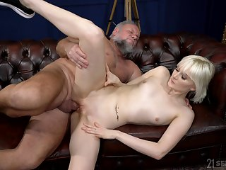 Old buck tries his luck yon nubile blonde Abort Melissa