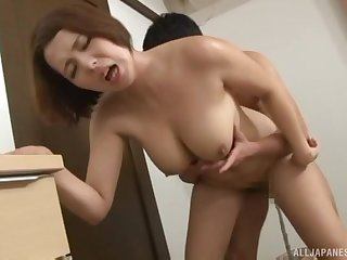 Coition more the bedroom with a natural tits Japanese become man