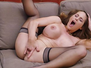 Cock vitalized star Cathy Heaven pleasures say no to pussy with fingers