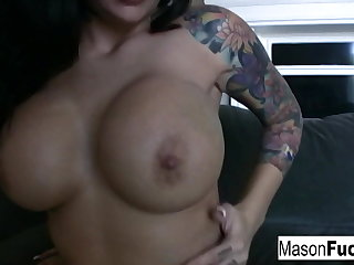 Sexy tattooed Mason playing round her pussy in her pink