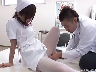Asian nurse pleases transmitted to doctor with transmitted to germane porn