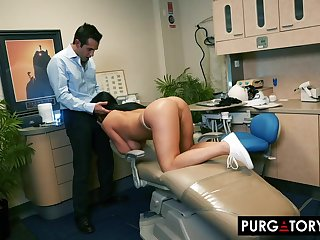 Smoking super-hot dark haired with famous bra-stuffers is having xxx bang-out with their way fantastic dentist, in his office