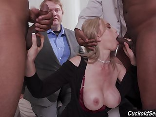 Tight blonde gagged and blacked in proper cuckold gangbang