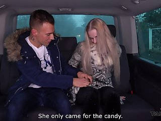 Blonde hottie Katy is bristling with energy during a heated car fuck