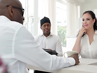 2 Black Dudes Get A Titties Direction Of Sofia Lees Huge Tits & Botheration