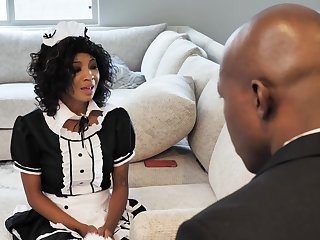 Black man fucks his horny maid September Reigh in the wet cunt