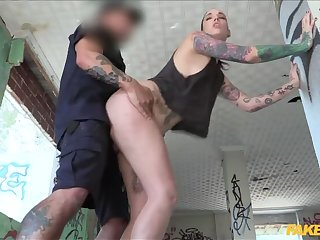 Affronting with Dildo and Fucked by Cop